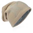 mayorista Ropa / Zapatos y Accesorios: Knit Beanie  estrella del Rhinestone Beige