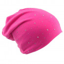 wholesale Headgear: Beanie Pink Crystal Rivets