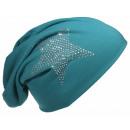 Großhandel Kopfbedeckung: Beanie Mütze Strass Stern Petrol