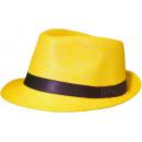 grossiste Cadeaux et papeterie: Panama Hat Fedora jaune paille 54