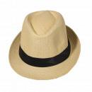 grossiste Cadeaux et papeterie: Chapeau Panama  Fedora Chapeau de paille Beige 54