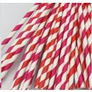 50 x Papier Strohhalm - Cocktail Rote Streifen