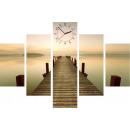Großhandel Uhren & Wecker: WANDBORDUHR 5  ELEMENTS CANVAS MORNING FOG