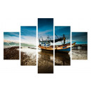 WALL CLOCK 5 ELEMENTS CANVAS FISHING BOAT