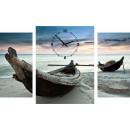 grossiste Horloges & Reveils: HORLOGE MURALE  TOILE 60 bateaux en bois