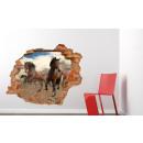 grossiste Stickers mureaux:Murale 3D - Chevaux