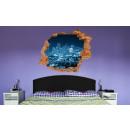 grossiste Stickers mureaux:Murale 3D - Blue City