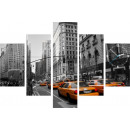 grossiste Horloges & Reveils: HORLOGE MURALE 5  ELEMENTS TOILE NY TAXI