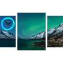 wholesale Coats & Jackets: WALL CLOCK CANVAS 60 POLAR AURORA