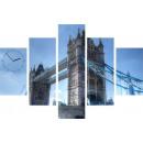 grossiste Horloges & Reveils: HORLOGE MURALE 5  ELEMENTS TOILE TOWER BRIDGE III