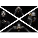 DRIEHOEK FOTO OP CANVAS 4 ELEMENTS BLACK GOLD