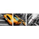 Großhandel Uhren & Wecker: WANDUHR CANVAS 35 Gelbes Taxi