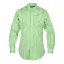 RALPH LAUREN MEN'S SHIRT GREEN STRIPED