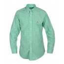RALPH LAUREN MEN'S SHIRT GREEN FINE GRILLE