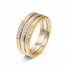 wholesale Rings: Jewelery - Triple ring with three toilets and zirc