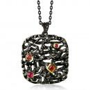 Modern design pendant bathed in black rhodium