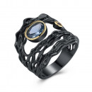 Black rhodium plated ring mounted with zirconias