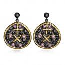 Modern design earrings rhodium plated black