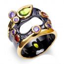 Großhandel Scherzartikel: Schwarzer rhodinierter Ring mit Zirkonias