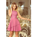 236-1 XENIA - Dress with frill and lace - LILA