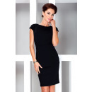 Elegant dress with  short sleeves - black