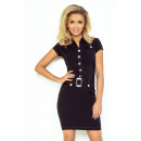 142-1 szmizjerka  dress with buttons - BLACK