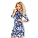 Großhandel Fashion & Accessoires: 88-11 Kleid mit  Ärmeln 3/4 - violetten Blüten
