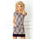 Dress with pockets  in red-and-gray checkered