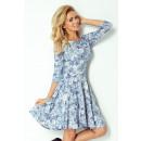 Großhandel Kleider: 105-1 DRESS CIRCLE  mit Ärmeln 3/4 - BLUMEN Himmel