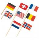 30 Mini piques drapeaux assorties