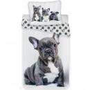 Literie bulldog anglais (gris) 140x200 cm