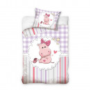 Hippo bed sheets 100x135 cm purple-pink