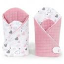 nagyker Gyermek- és baba felszerelések: Minky velvet szivecskés pólya (rózsaszín)