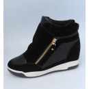 sports shoes on  wedge heel, black, gold slide