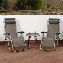 Zero gravity garden chair with table, 2 pcs