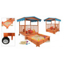 wholesale Garden playground equipment: Wooden playhouse with sandpit and shading roof