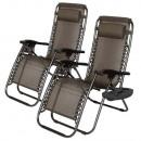 wholesale Garden Furniture: Zero gravity garden chair with glass holder 2pcs