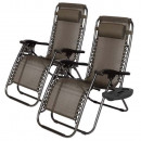wholesale Garden Furniture: Zero gravity garden chair with cup holder 2pcs