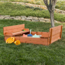 wholesale Garden playground equipment: Wooden sandbox with a convertible roof
