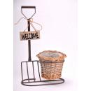 Flower wicker  basket pitchfork 23x14x35 & 13,