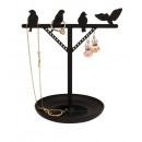 mayorista Joyeros - cajas y expositores joyas y bisutería: Soporte de joyería, pájaros, negro 2x19x16,5cm