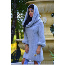 Sweater long boho,  golf, hood, gray, oversize