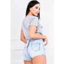 ingrosso Jeans: Jeans luminosi  pantaloncini cerniera sul retro