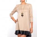 Dress with  leather,  rozkloszowana, ...