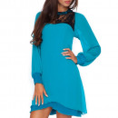 wholesale Dresses: Dress, chiffon with lace, airy, marine