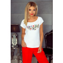 Großhandel Shirts & Tops: Bluse, T-Shirt , BLUMEN, DE LUX, weiß