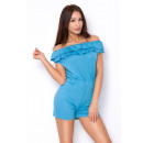 wholesale Trousers: Short suit with frill, quality, blue