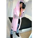 wholesale Fashion & Mode: Sweatshirt, long hood, prints, pink