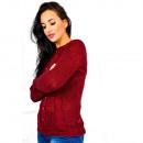 ingrosso Ingrosso Abbigliamento & Accessori: Morbido maglione,  perle, trecce, uni, bordeaux