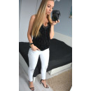 wholesale Trousers: Pants, slits, decorated, white